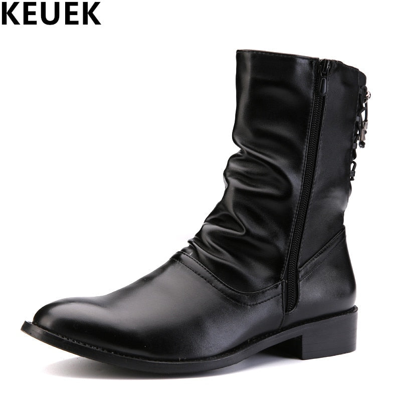 habazoo - British style Fashion Men boots Mid-Calf Pointed Toe Army boots Spring Autumn Male shoes Motorcycle boots 061 - Habazoo -