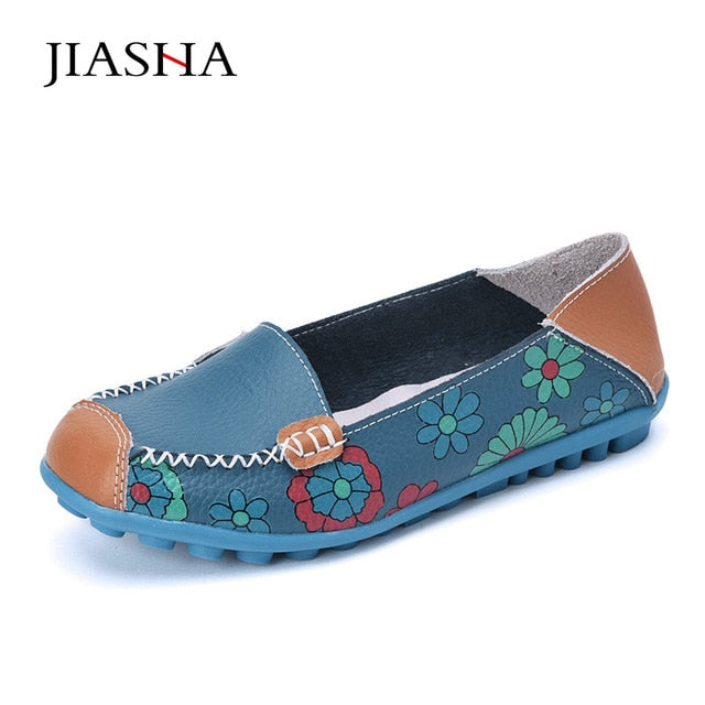 habazoo - Women flat  ballet summer flower print women shoes genuine leather loafers ladies flats shoes woman - Habazoo -