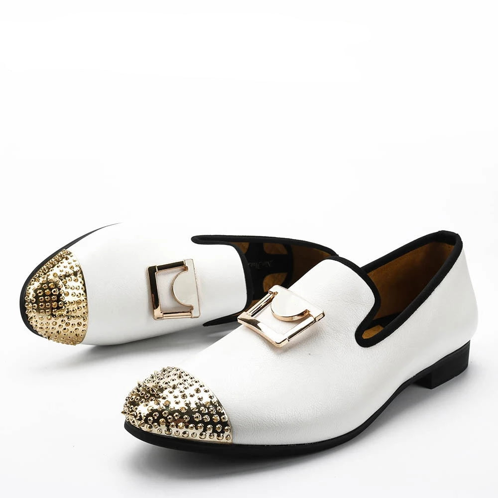 habazoo - Men White Leather Loafers With Gold Buckle Wedding And Party Dress Shoes - Habazoo -