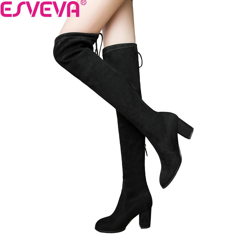 habazoo - Over The Knee Boots Round Toe Warm Lady Short Plush + Stretch Fabric Fashion Boots - Habazoo -