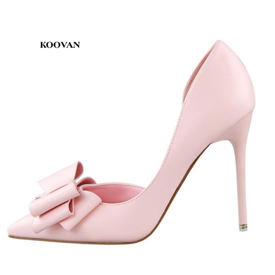 habazoo - New Fashion Women's Shoes Sweet Bow knot High Heel Shoes Side Hollow Pointed Women Sandals - Habazoo -