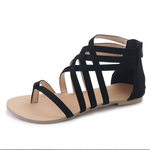 habazoo - Women Fashion Gladiator  Summer Shoes Flat Sandals  Rome Style Cross Tied Sandals Shoes Women 43 - Habazoo -