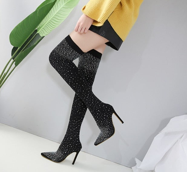 habazoo - Women Over The Knee Thigh High Stretch Boots Pointy Toe Pumps Heels Stiletto Crystal Rhinestone Shoes - Habazoo -