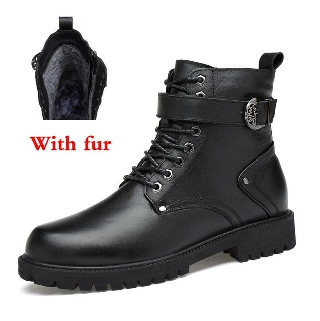 habazoo - Natural Leather Men Winter Boots Lace Up Warm Fur Ankle Snow Boots Handmade Plus Size Men Shoes - Habazoo -