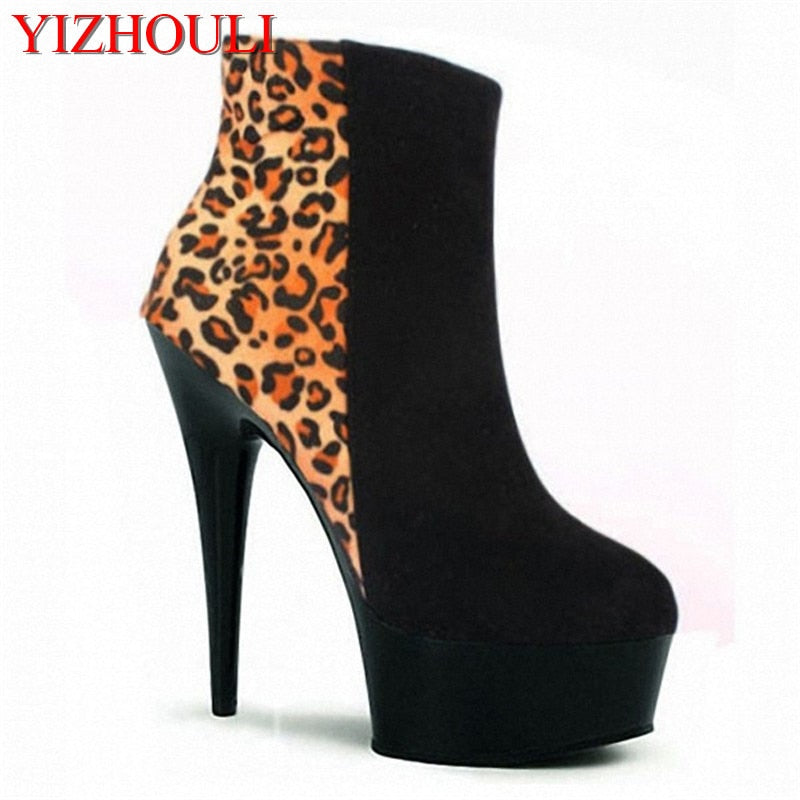 habazoo - platform leopard boots  high heels sexy women ankle boots classic party short boots - Habazoo -