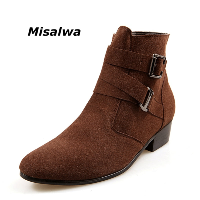 habazoo - Suede Leather Male Brown Heel Riding Buckle  Stylish Camel Ankle Boots - Habazoo -