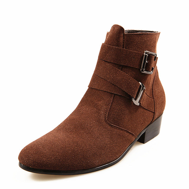 Natural Suede Leather Brown Heel Riding Buckle Fashion Stylish Camel Ankle Boots