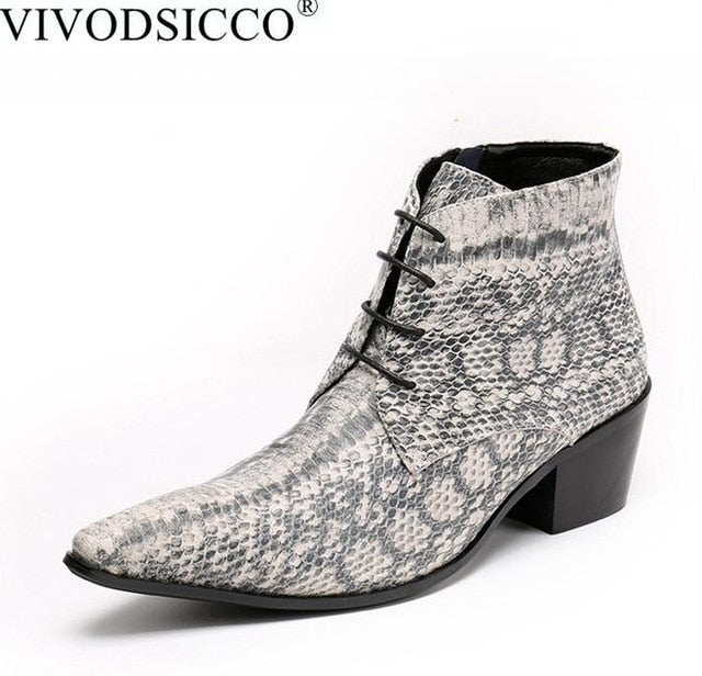Luxury British Style Lace-Up Men Ankle Boots Leather Motorcycle Cowboy Snake Skin Boots - Habazoo
