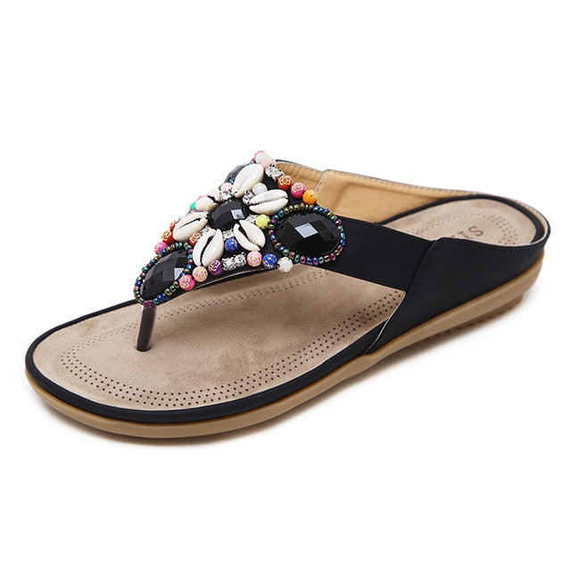 habazoo - Summer Shoes Woman Beach Sandals Gemstone Floral Beaded Flip - Habazoo -