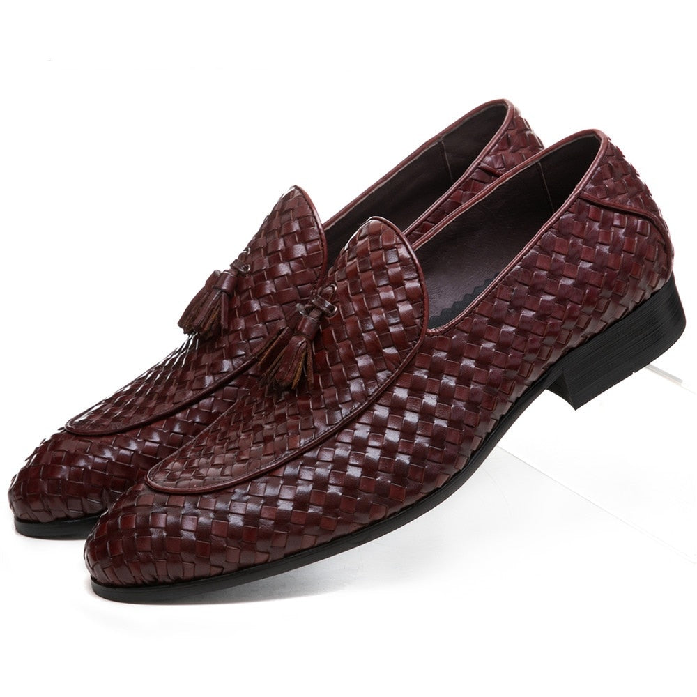 habazoo - Breathable Brown Tan / Black Woven Design Loafers Summer Mens Wedding Groom Shoes Genuine Leather Male Dress Shoes With Tassel - Habazoo -