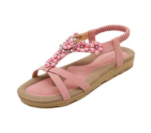 habazoo - Comfortable Flat Heel Sandals Women Large Size Summer Shoes Woman Bohemia Flowers Rhinestone Beach Ladies Shoes - Habazoo -