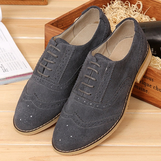 habazoo - leather brogues oxford flats shoes  brown handmade vintage casual sneakers leather flat shoe - Habazoo -