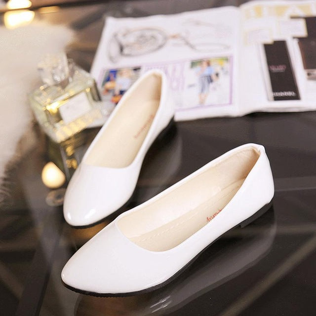 habazoo - Leather Shoes Woman Single Shoes Shallow Round Tow Spring Autumn Ballet Flats Shoes - Habazoo -