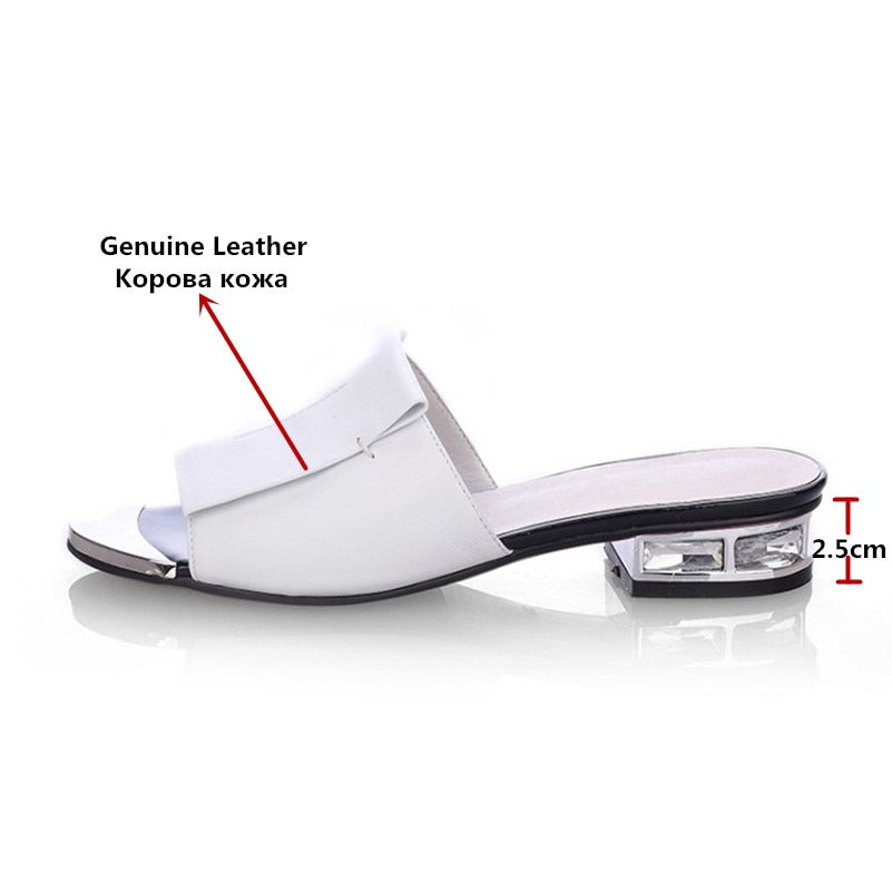 habazoo - New Women Summer High Quality Square High Heels Pumps Genuine Leather Shoes Woman Sandals Flats Open Toe Ladies Slippers - Habazoo -