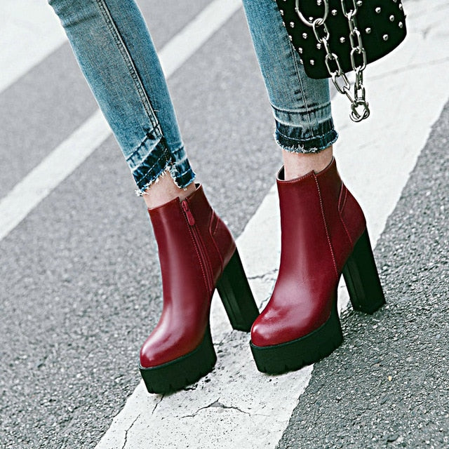 habazoo - Ladies Winter Fashion Ladies Shoes Thick High Heels Ankle Boots Platform Zip Women Boots White Red Black - Habazoo -