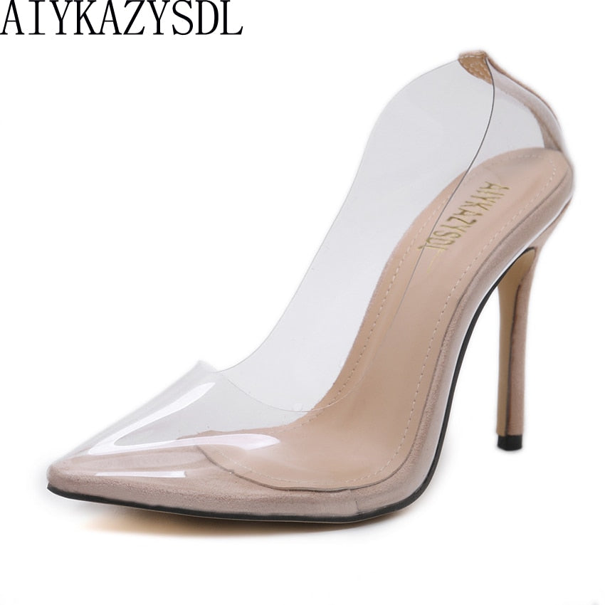 habazoo - Sexy Women Close Pointed Toe Pumps PVC Clear Transparent Ultra High Heel Stilettos 2018 Wedding Dress Court Shoes - Habazoo -