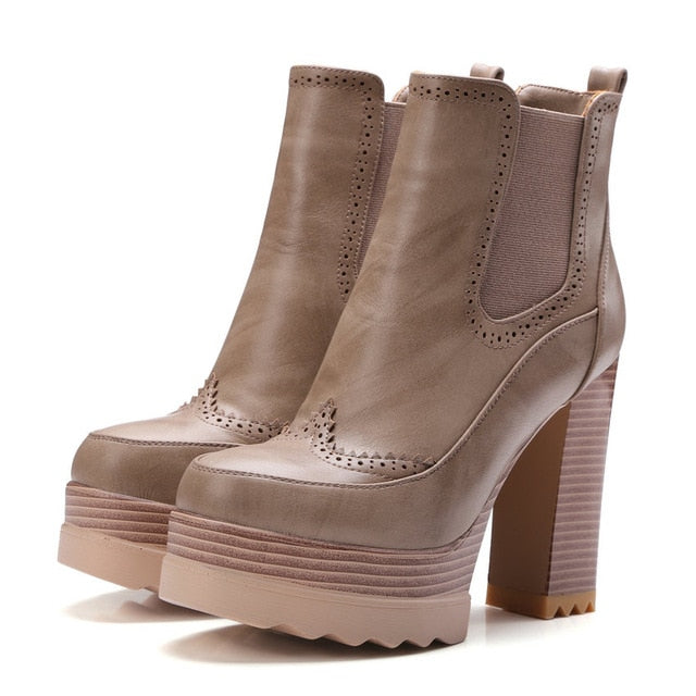 habazoo - Fashion Women Boots Khaki Platform PU Autumn Shoes Square High Heel Platform Winter Ankle Boots Size 34-42 - Habazoo -