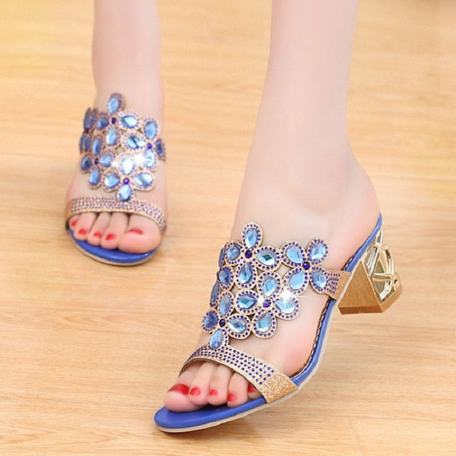 habazoo - Designer  Ladies Slides Women Slippers Sandals Summer Crystal  Peep Toe Middle Heels - Habazoo -