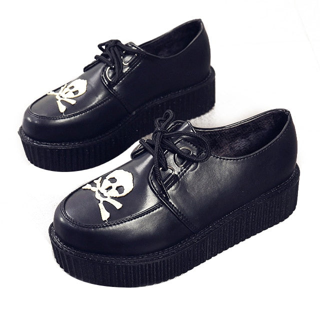 habazoo - Creepers Women Shoes Flat Platform Shoes Black Women Casual Shoes Lace-Up Round Toe Creepers Female Shoes Large Size - Habazoo -