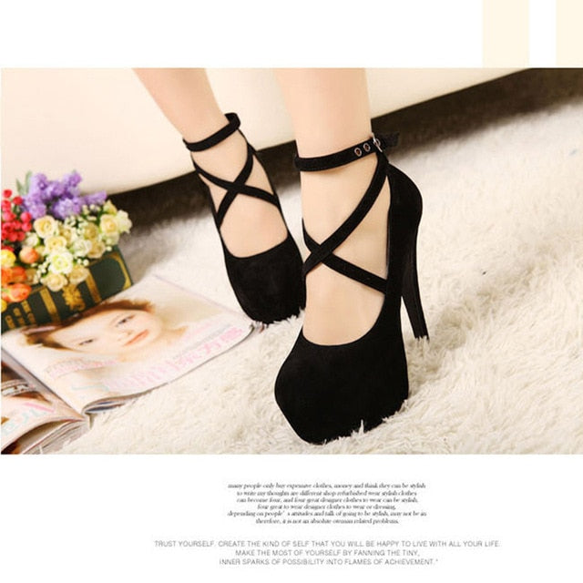 habazoo - Hot Fashion New high-heeled shoes woman pumps wedding party shoes platform fashion women shoes high heels 11cm suede black 8Size - Habazoo -