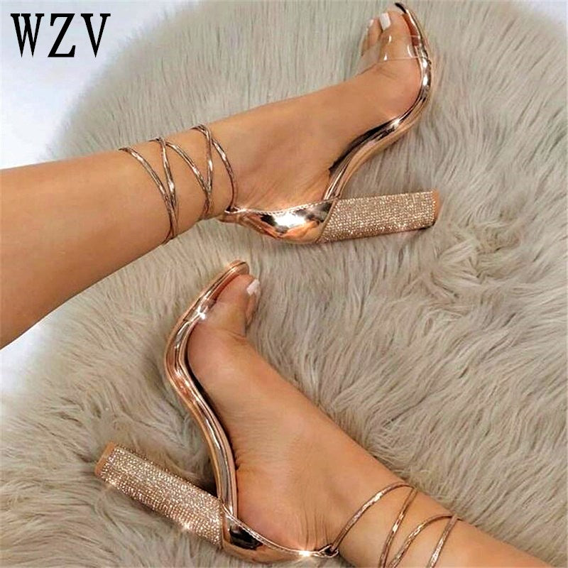 Big size34-43 Women Heeled Sandals Bandage Rhinestone Ankle Strap Pumps Super High Heels 11 CM Square Heels Lady Shoes - Habazoo