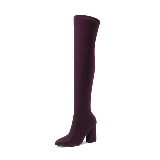 habazoo - Women Over The Knee High Boots Fashion All Match Pointed Toe Winter Shoes Elegant All Match Women Boots - Habazoo -