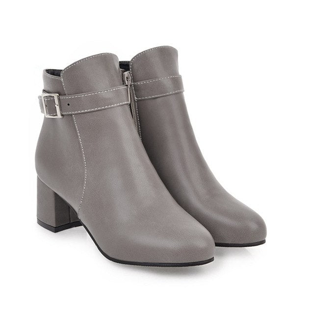 habazoo - fashion winter new arrive women boots black white gray brown ladies boots round toe buckle zipper ankle boots - Habazoo -