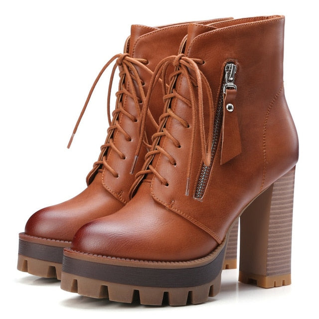 habazoo - Lace Up Western Style Women Boots Platform PU Autumn Shoes Thick High Heel Winter Shoes Lady Ankle Boots Size 34-42 - Habazoo -