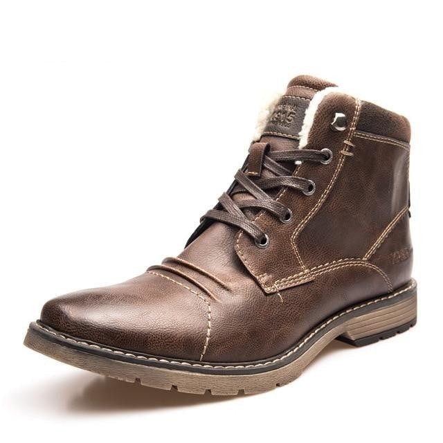 habazoo - Ankle Boots Men Warm Winter Shoes Lace-Up Motorcycle Boots - Habazoo -