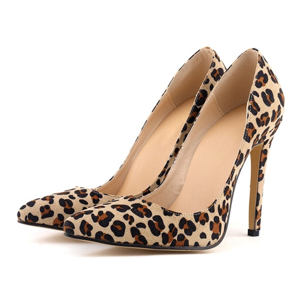 habazoo - Women Pumps Leopard Shoes High Heels Sexy Pointed Toes Wedding Shoes Woman Stiletto Heel Office Lady Dress Shoes Casual Evening - Habazoo -