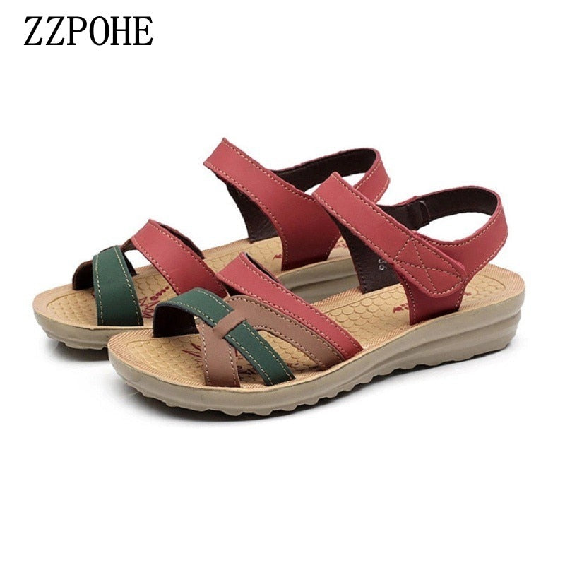 habazoo - Summer High Quality Women sandals Mother Soft Leather Flat Sandals Large Size Non-slip Comfortable Woman shoes - Habazoo -