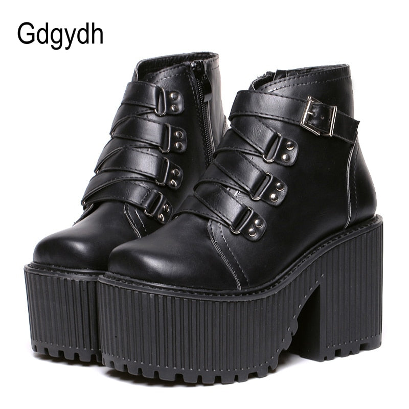 habazoo - Leather Round Toe High Heel Boots Women Shoes Buckle Rubber Sole Black Platform Shoes Autumn Ankle Boots Punk Shoes Cool - Habazoo -