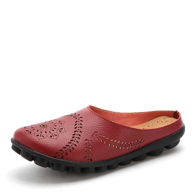habazoo - Genuine Leather Women Flats Hollow Women's Loafers Female Solid Shoe - Habazoo -
