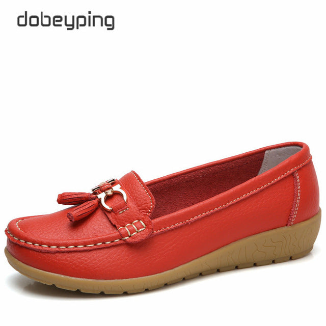 habazoo - New Arrival Shoes Woman Genuine Leather Women Flats Slip On Women's Loafers Female Moccasins Shoe Plus Size 35-44 - Habazoo -
