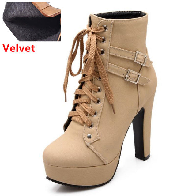 habazoo - Women High Heel Ankle Boots Fashion Lady Cross Strap Shoes Women  Warm Botas Heels Round Toe Footwear - Habazoo -