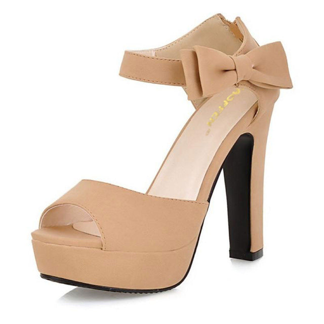 habazoo - New Peep Toe Ankle Strap Orange Sweet Thick High Heel Sandals Platform Women Shoes - Habazoo -