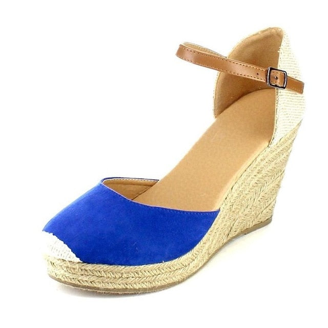 habazoo - Platform Wedges Sandals Cover Heel Flock Gladiator Buckle Strap Mixed Colors Summer Shoes - Habazoo -