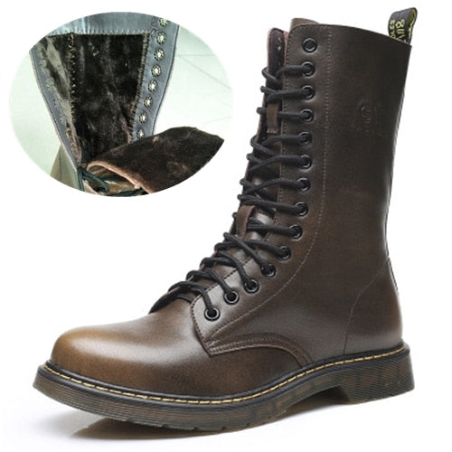 habazoo - Military boots  Genuine leather Vintage Motorcycle boots Wear-resistant Large Size - Habazoo -