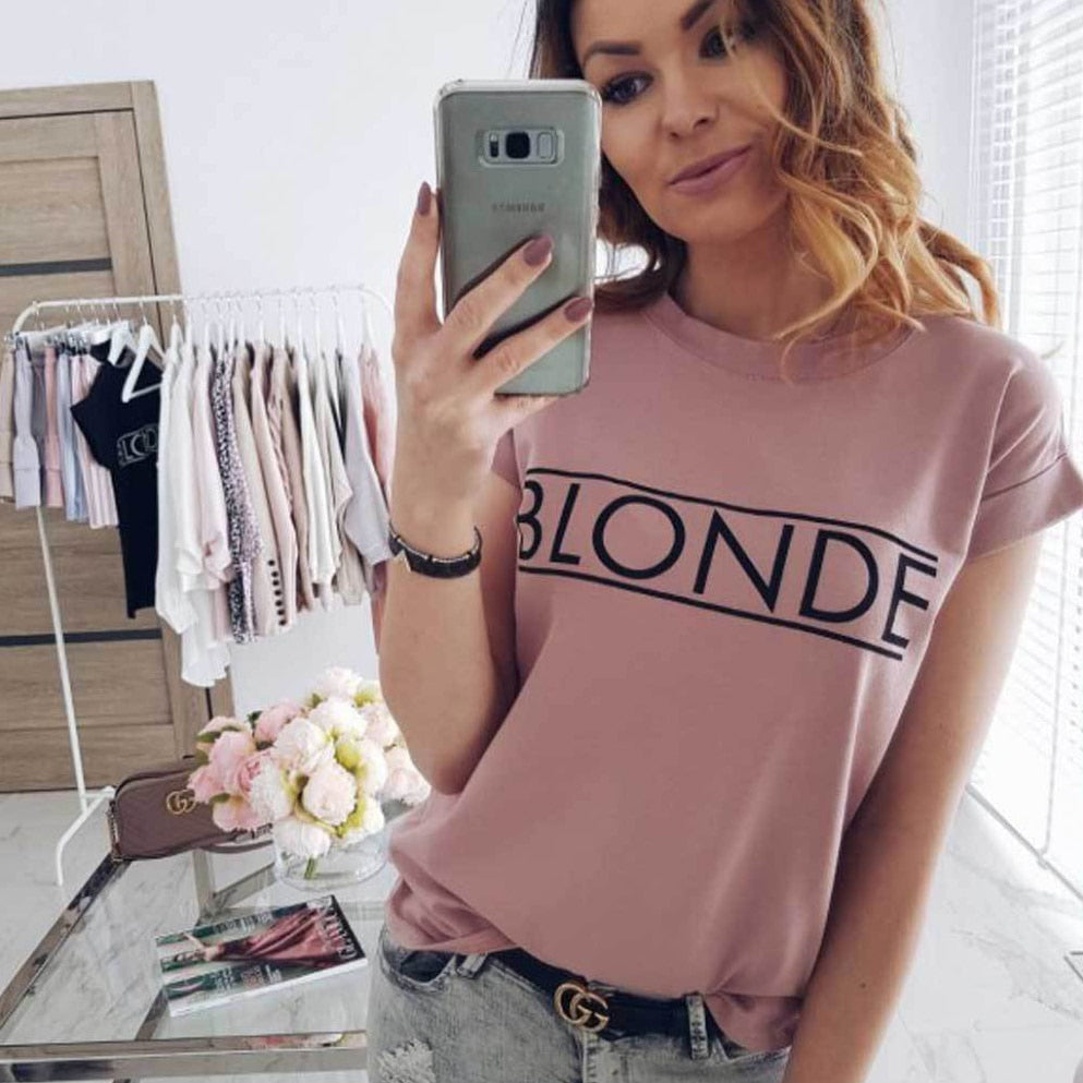 habazoo - Vogue Women's Short Sleeve Basic Tee Shirt Summer Casual Tops brand Blouse dames - Habazoo -
