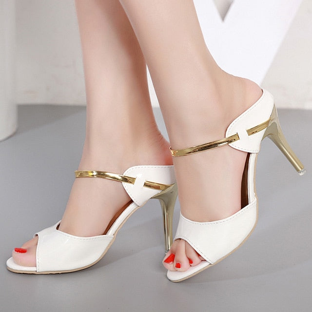 habazoo - Women Pumps Small Heels Wedding Shoes Gold Silver Stiletto High Heels Peep Toe Women Heel Sandals Ladies Shoes - Habazoo -