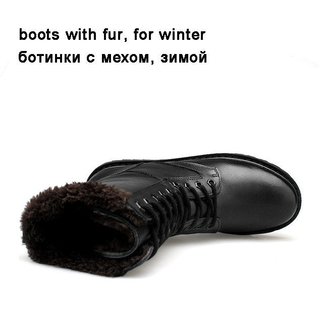 Reetene Genuine Leather Warm Comfortable Soft Leather Big Size 38-52 Winter boots - Habazoo