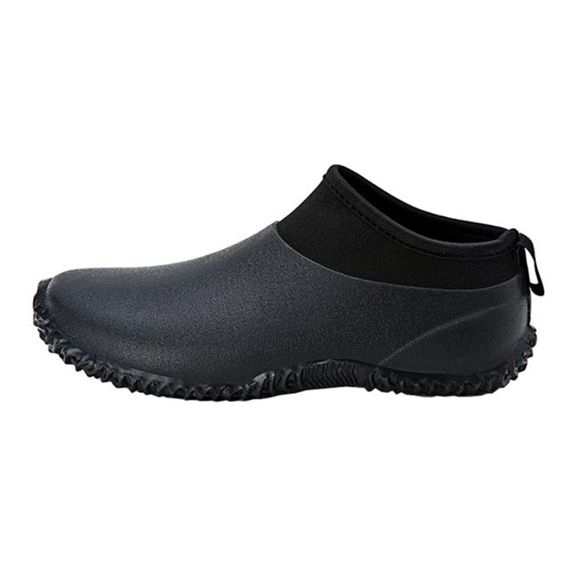 habazoo - New Wading shoes Men Casual Shoes Waterproof Rain Boots Outdoor Wear resistant Anti-skid Solid Black Flat Slip-on Leisure Shoes - Habazoo -
