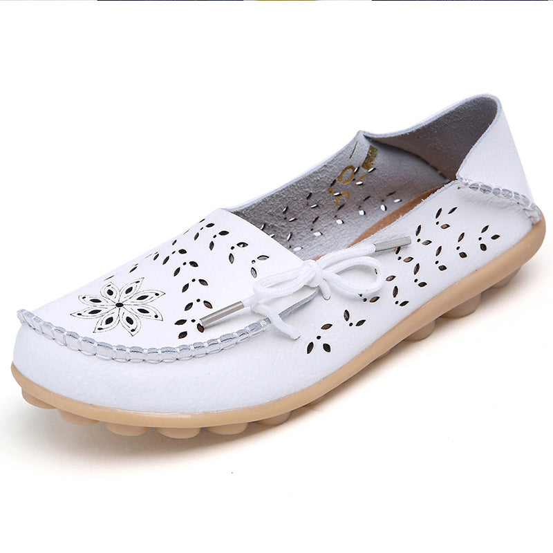 habazoo - Big size 34-44  women flats shoes women genuine leather flats ladies shoes female cutout slip on ballet flat loafers - Habazoo -