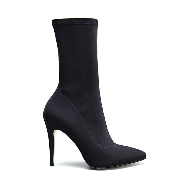 habazoo - New Women Sock Boots Pointed Toe Elastic High Boots Slip On High Heel Ankle Boots Women Pumps Stiletto - Habazoo -