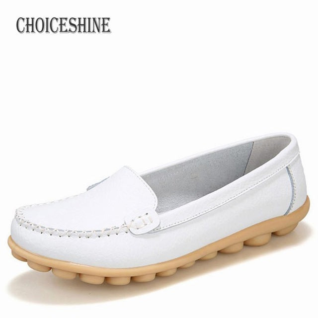 habazoo - Leather Sneakers Casual Women Loafers Slip On Woman Flats Shoe Low Heel  Footwear - Habazoo -