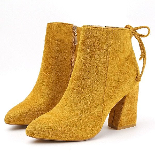 Women Classics Ankle Boots Kid Suede Soft Shoes Anti-Skid Women Boots High Heels Zipper Causal Ladies Footwear - Habazoo