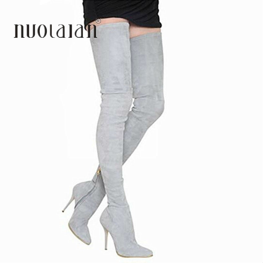 habazoo - Long Stretch Slim Thigh High Boots Fashion Over the Knee Boots High Heels Shoes - Habazoo -