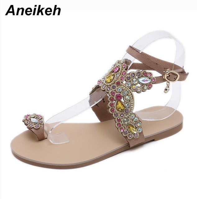 habazoo - Bling Bling Colorful Rhinestone Butterfly Woman Sandals Crystal Flats Flip Flops Shoes - Habazoo -