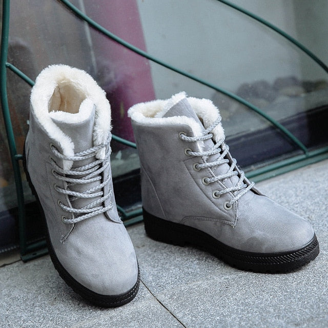 habazoo - Warm Snow Boots Fashion Ankle Boots For Women Shoes Winter Casual Heels - Habazoo -