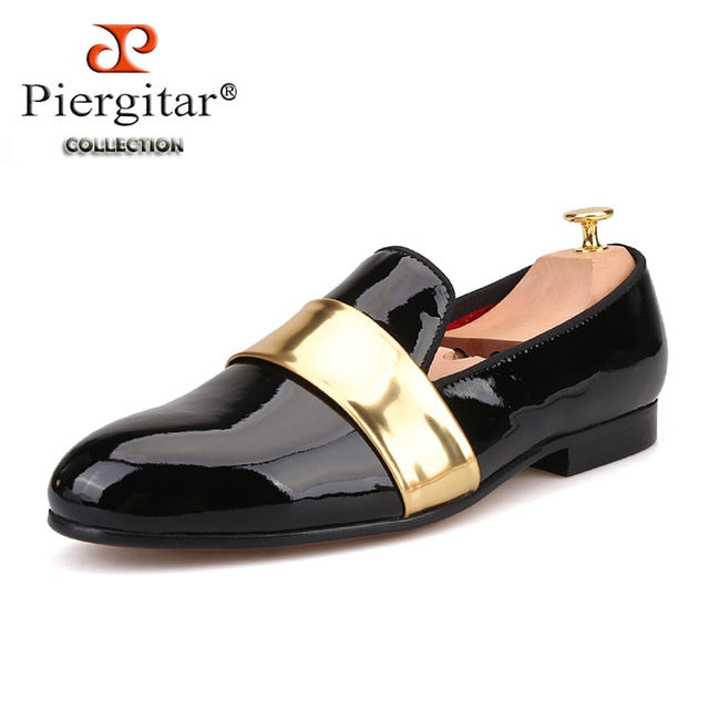 habazoo - Handmade men leather Loafers with gold patent leather buckle party and wedding men dress shoes men's flats - Habazoo -